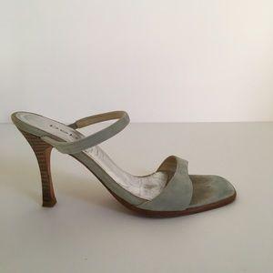 Bebe Blue Suede Sandals